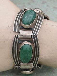VINTAGE MEXICAN TAXCO STERLING SILVER & GREEN MALACHITE LARGE LINK BRACELET