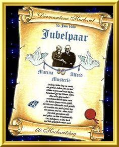Diamantene Hochzeit - Urkunden als Geschenk zum Hochzeitstag