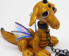 "*POLYMER CLAY ~ Ooak Handmade Polymer Clay Woodland Tiny Baby Dragon ""Elok"" Fantasy Art Doll."