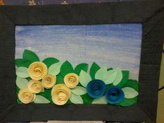 quadro con rose di carta