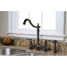 Found it at Wayfair - Charlestown Two Handle Bridge Style Kitchen Faucet with Matching Side Spray