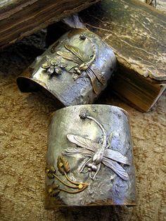 Silver & Bronze Dragonfly Cuff Bracelets by Diana Frey. Jewelry Crafts, Jewelry Art, Jewelry Accessories, Handmade Jewelry, Jewelry Design, Unique Jewelry, Jewellery, Indian Jewelry, Dragonfly Jewelry