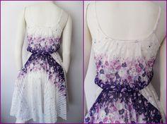 White Purple,Lilac Floral Striped Print Full Skirt Sun Dress