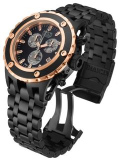 Invicta Mens Reserve Subaqua Specialty Swiss ETA Rose Gold & Black Stainless