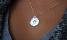 Custom Volleyball Necklace with any number mirrored acrylic by Chicago Factory