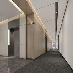 Office Building Lobby, Elevator Lobby Design, Office Building Architecture, Office Lobby, Space Interiors, Office Interiors, Hall Interior, Home Interior Design, Hotel Hallway