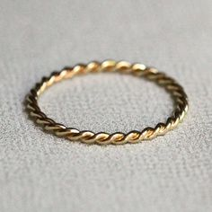 SOLID 14k Gold - Rose or Yellow or White Gold - Twisted Rope Ring   Mary John