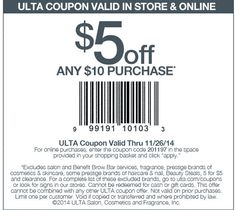 Pinned November 24th: $5 off $10 at #Ulta, or online via promo code 201197 #coupon via The #Coupons App