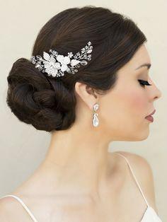 Hair Comes the Bride - Rhinestone Floral Bridal Comb ~ Lola, $92.00 (http://www.haircomesthebride.com/rhinestone-floral-bridal-comb-lola/)