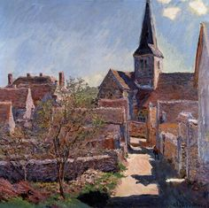 Claude Monet, Bennecourt,1885 https://hemmahoshilde.wordpress.com/2015/03/29/monet-sunny-buildings/ <---You're welcome to read more about the church of Bennecourt and other buildings painted by Monet, on my art blog :).
