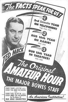 Ted Mack's Original Amateur Hour was a radio show that began airing regularly on TV in one of the earliest serial television shows. A retro America's Got Talent.but no prizes and little talent. Talent Show, America's Got Talent, Old Time Radio, Television Program, Oldies But Goodies, Prime Time, Classic Tv, Best Tv, Favorite Tv Shows