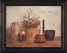 Simple Blessings by Billy Jacobs 15x19 Crocks Candles Stoneware Country Primitive Folk Art Photography Framed Print Picture