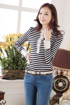 Korean Fashion Slim Chiffon Long Sleeve Shirt