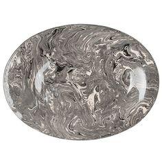 Grey Ebru Marble Ceramic Oval Platter