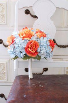 Burnt orange roses, light blue hydrangea, paper flower bouquet, Summer and fall bouquet