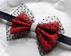 Red and Black net bow