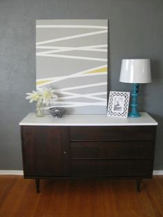 Refinished credenza plus diy art art decor, diy home decor, masking tape art , Diy Wand, Diy Artwork, Diy Wall Art, Decorating Your Home, Diy Home Decor, Room Decor, Art Decor, Mur Diy, Tape Art