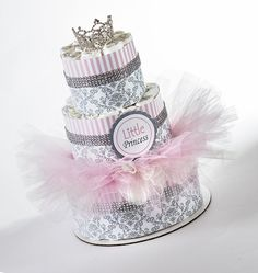 "The ""Little Princess"" Diaper Cake with Tutu and Crown for Newborn. Baby Shower Centerpiece or Gift. on Etsy, $90.00"