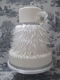 Silver Beading and Sugar Feathers Skirted White on White Wedding Cake ~ all edible