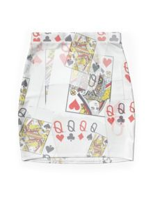 Poker  Cards  Quad Queens Layered Pattern Mini Skirt