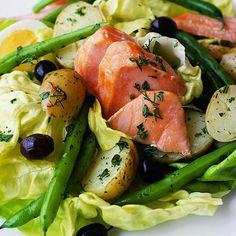 Salmon Nicoise Salad. French recipe.