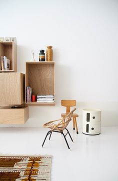 Floating shelves and dressers. No more dust collecting and hiding under furniture.
