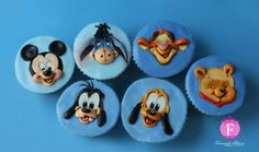 Mickey Mouse Cupcakes, Kid Cupcakes, Mickey Cakes, Baby Shower Cupcakes, Cupcake Cookies, Mickey First Birthday, First Birthday Cakes, Birthday Ideas, Fondant Cupcake Toppers
