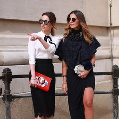 """""""@mariliaqm (L) makes a point with @nicolepinheiro outside the shows at the Grand Palais. Photo by @altamiranyc"""""""