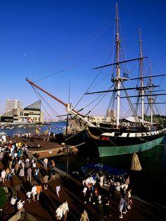 Civil War era Constellation docked at Baltimore Inner Harbor