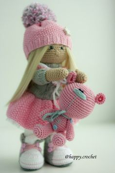 Cute Pink Crochet Girl Doll with Pom Hat Stuffie