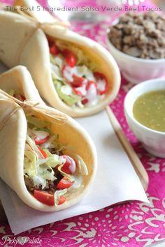 The Best 5 Ingredient Salsa Verde Beef Tacos. Simple to prepare for weeknight dinners!