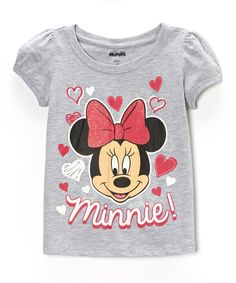 Look at this #zulilyfind! Heather Gray Heart Minnie Tee - Toddler & Girls by Mickey Mouse & Minnie Mouse #zulilyfinds