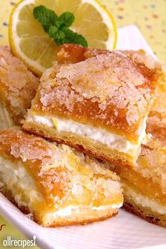 """Lemon Cream Cheese Bars   'Very easy to make and delicious! This is a keeper for parties. Love lemon and cream cheese combined."""""""