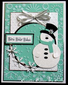 Kreative Korner By Kelly: A Few More Christmas in July Cards: lovely handmade card for winter . aqua and white with black details . great die cut snowman with sparkly glitter Homemade Christmas Cards, Christmas Cards To Make, Xmas Cards, Handmade Christmas, Homemade Cards, Holiday Cards, Christmas Crafts, Christmas Snowman, Family Christmas