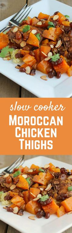 Slow Cooker Moroccan Chicken - this easy and flavorful crock pot meal will become a new family favorite! Get the recipe on RachelCooks.com!