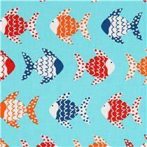 Robert Kaufman Turquoise Fish Fabric - Guest Bedroom