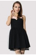 #chicwish  Tulle Heart Shape Wrap Dress in Black  - I love the simplicity, and frilly underlay of the dress. The buttons on the back are too cute.