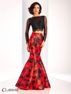CLARISSE Prom 2017 Print Two Piece Mermaid 4808. long sleeve lace crop top with beautiful print mikado mermaid skirt. COLOR: Red/Black SIZE: 00-20
