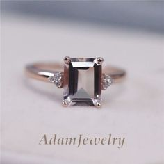 Ebay Morganite emerald cut engagement ring