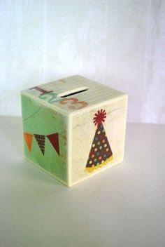 Happy Birthday Wood Bank by Mmim on Etsy, $12.00