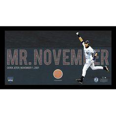 Derek Jeter Moments: Mr. November Collage Text Overlay w Game Used Dirt Framed 9.5x19 7331 Style