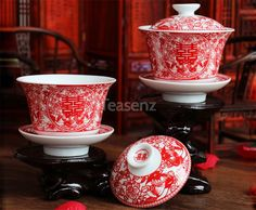 'Double Happiness' Chinese Wedding Tea Ceremony Set - 2 x Red Gaiwan Tea Cups