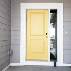 front door paint color Beeswax by Benjamin Moore - Front Door Ideas House Paint Exterior, Exterior Paint Colors, Exterior House Colors, Exterior Doors, Entry Doors, Exterior Design, Yellow Front Doors, Front Door Paint Colors, Painted Front Doors