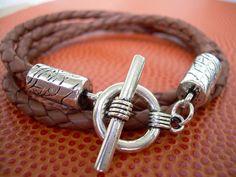 Mens Brown Leather Bracelet Wrap Bracelet by UrbanSurvivalGearUSA
