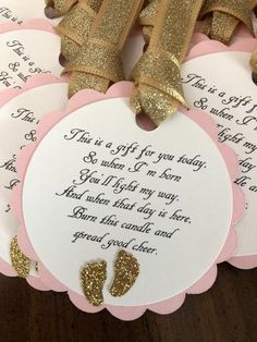 Pink and Gold Glitter Baby Shower Favor Tags * Barefoot Wine Party Favor . - Pink and Gold Glitter Baby Shower Favor Tags * Barefoot Wine Party Favor Tags * Pink and Gold Baby - Otoño Baby Shower, Cute Baby Shower Ideas, Fiesta Baby Shower, Baby Shower Favors Girl, Shower Bebe, Baby Girl Shower Themes, Girl Baby Shower Decorations, Baby Shower Princess, Gold Baby Showers