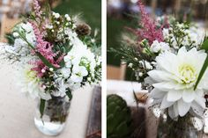 summer wedding flowers // pink white green wildflowers for outdoor country wedding // DIY wedding centerpieces