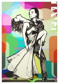 Tango - poster print by popular artist, Robert Rusin. www.mkfive.co.uk