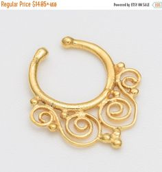 Labor Day Sale Fake gold Septum Ring. septum by Umanativedesign