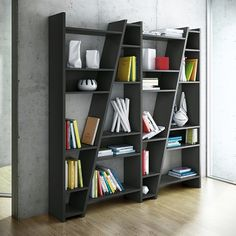 DELTA 1 to 5 columns shelfs, reversible system, wooden mat lacquering - deco and design, TEMAHOME