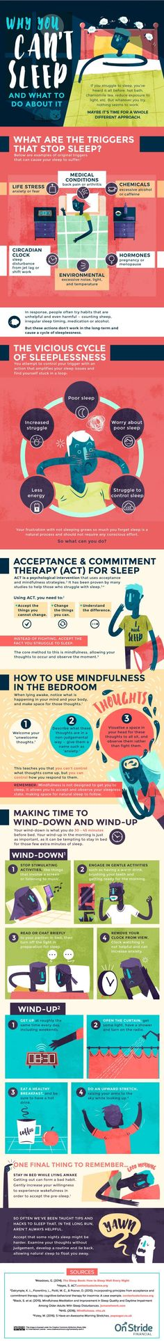 Can't sleep? Here are 11 simple tips in this awesome infographic (Source: Onstride) to help you set yourself up for restful sleep. PLUS click through for my #1 most effective strategy for getting good sleep (dealing with a big root cause behind sleep prob